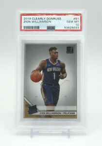 2019 Panini Clearly Donruss 51 Zion Williamson  Acetate RC PSA 10 Pop 2 Pelicans