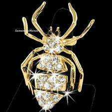 HUGE Micro Pave Cz Crystal Gold SPIDER Animal Statement Cocktail Ladies Ring NEW