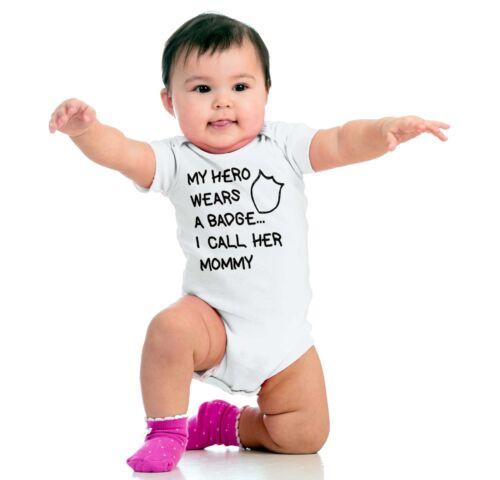 Hero Wears Badge Mommy Gerber OnesieAdorable Girl Power Police Baby Romper