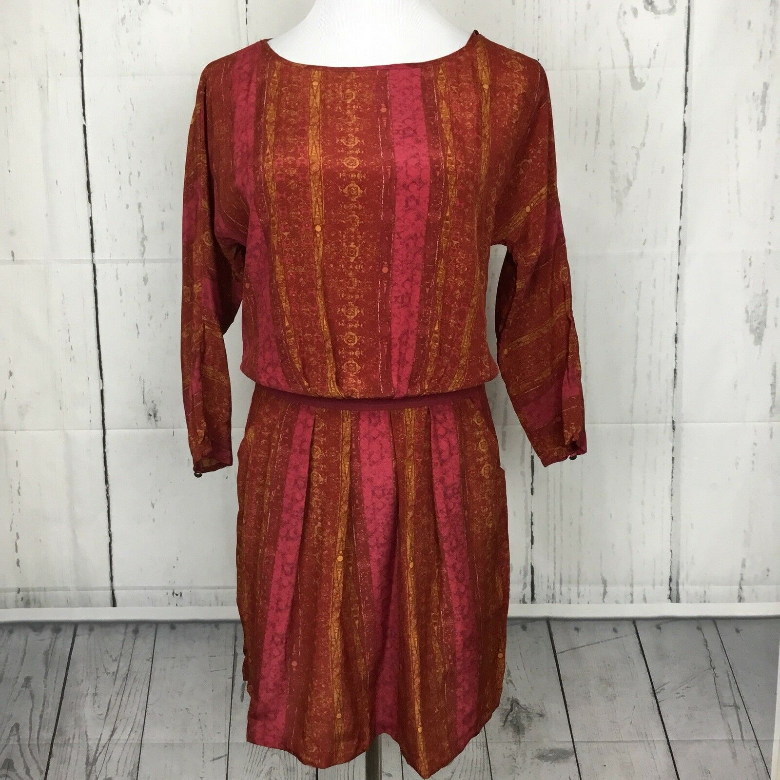 Peruvian Connection Size 8 Silk Dress Blouson orange Burgundy Long Sleeve Boho
