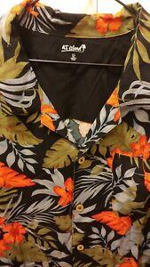 KS-Island-Floral-Hawaiian-Print-Shirt-Mens-2XL-Rayon-Short-Sleeve-Button-Down