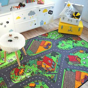 Tapis-de-jeux-Circuit-voitures-Campagne-145x200-cm-Chambre-enfant-garcon-fille