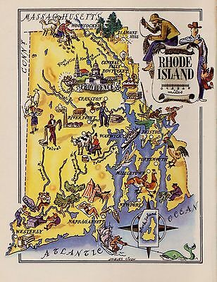 1950s Vintage RHODE ISLAND Map Original Picture Map of Rhode Island #2925