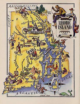 1950s Vintage RHODE ISLAND Map Original Picture Map of Rhode Island #2925