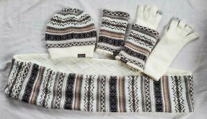 Muk-Luks-Hat-Scarf-Gloves-Winter-Set-Reversible-Brown-Cream-Snowflakes-cp