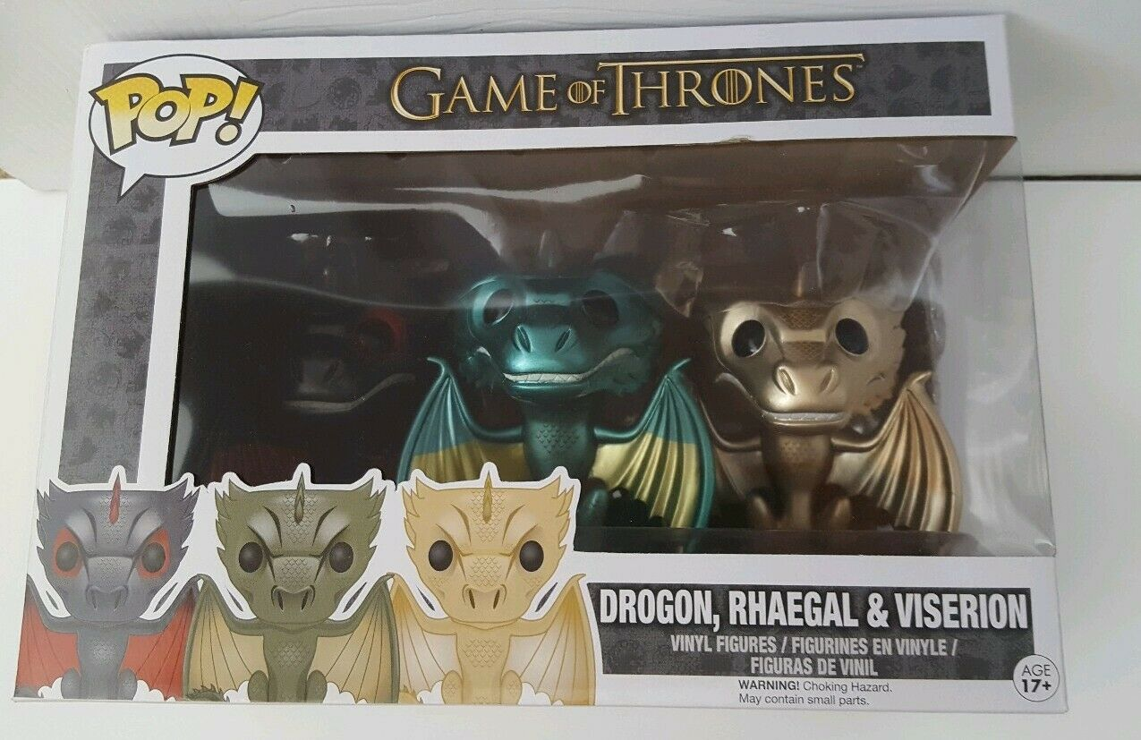 3 Metallic Dragons Funko Pop Vinyl, GOT Game of Thrones BNIB Rare Drogon
