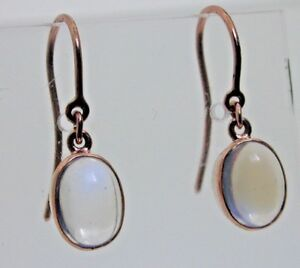 9ct-rose-gold-oval-cut-moonstone-drop-earrings-French-hook