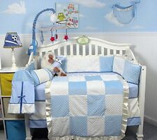 BLUE CRIB BEDDING MINKY DOTS Infant Boy Nursery 13 Pc Quilt Sheet Bumper NEW