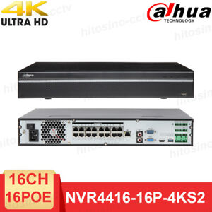 Details about Dahua NVR 16CH 16 POE NVR4416-16P-4KS2 4K H 265 Security  Network Video Recorder