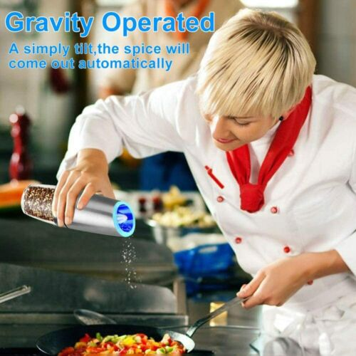 Automatic Gravity Electric Salt and Pepper mill Grinder LED Battery-Operated