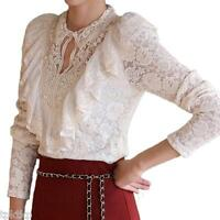 Womens Shirt Victorian Casual Ruffle Blouse Ladies Lace Long Sleeve Top Size