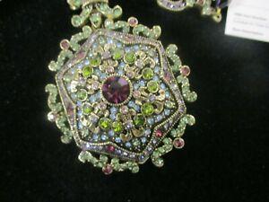 HEIDI-DAUS-Necklace-Locket-Pendant-Swarovski-Crystals-Faceted-Black-Glass-Beads