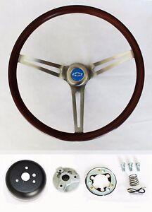 Blazer-C10-C20-C30-Pick-Up-Wood-Steering-Wheel-Low-Gloss-Grip-Blue-Bowtie-Cap-15