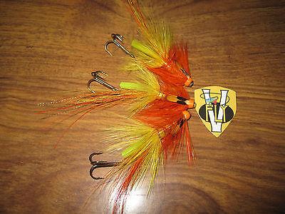 3 V Fly 1 Inch Brass Hot Orange Pearl Cascade Salmon Tube Flies /& Trebles