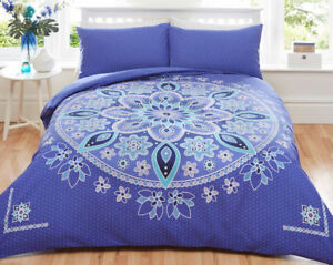 KING-SIZE-QUILT-COVER-BED-SET-034-BOHEMIAN-MANDALA-034-BLUE
