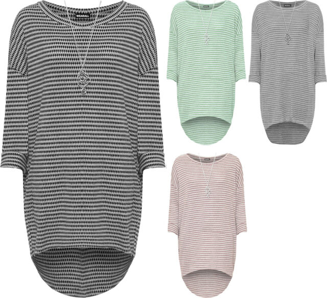 Plus Womens Knitted Baggy Dress Top Ladies Necklace Long Sleeve Pocket Loose