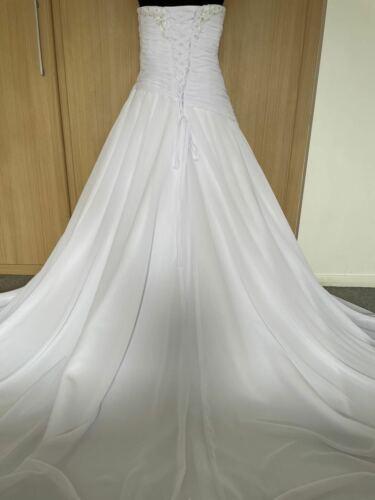 UK Stock Fabulous Chiffon Wedding Dress Size 8 10 12 14 16 18 20 22 Custom Made