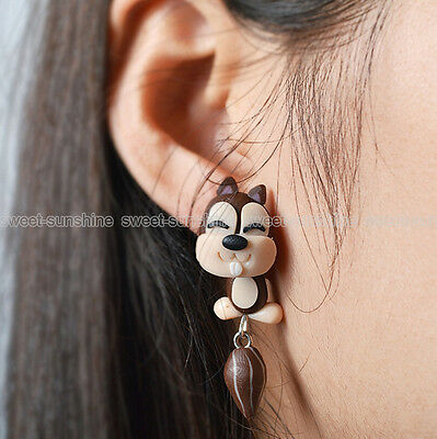 New Stylish Super Squirrel Earrings Polymer Clay Ear Studs Women Jewellery Gift