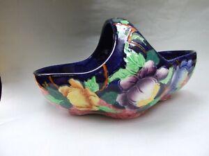 Maling-Ware-Basket-Lustre-Floral-Cobalt-Blue-Glazed-Maling-England-Vint-1920-039-s