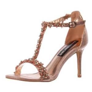 Y Pedrería Tiras De Fiesta Zapato Oro Flor Sandalia Boda Tacón Mujer 0wPkOn