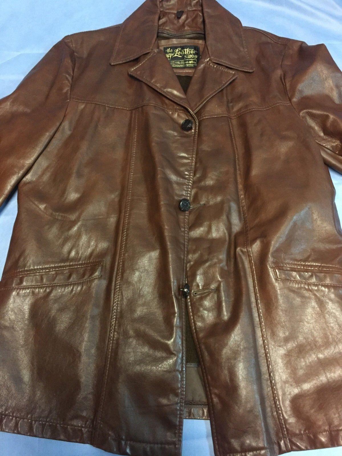 La tienda de Cuero  Hombre Cuero Marrón 40 Reg Sears abrigo con forro de piel sintética  en stock