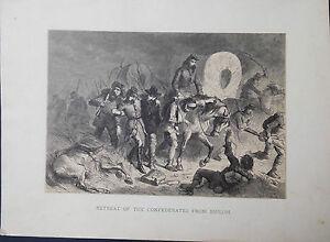 Confederates-Retreat-Battle-of-Shiloh-Civil-War-Original-Antique-Print-1878