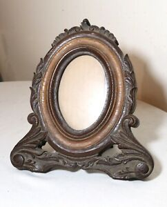 antique-ornate-hand-carved-two-toned-wood-oval-table-picture-frame-sculpture