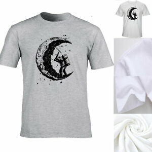 Funny-Digging-The-Moon-Print-T-shirt-Men-Short-Sleeve-Crew-Neck-Tees-Suumer-Tops
