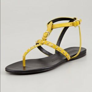 27f281dfa99 Image is loading Burberry-Masefield-Flat-Studded-Thong-Sandals-Yellow-Size-