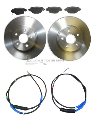 FORD MONDEO MK3 2000-2007 REAR 2 BRAKE DISCS AND PADS SET 2 REAR CABLES LH/&RH