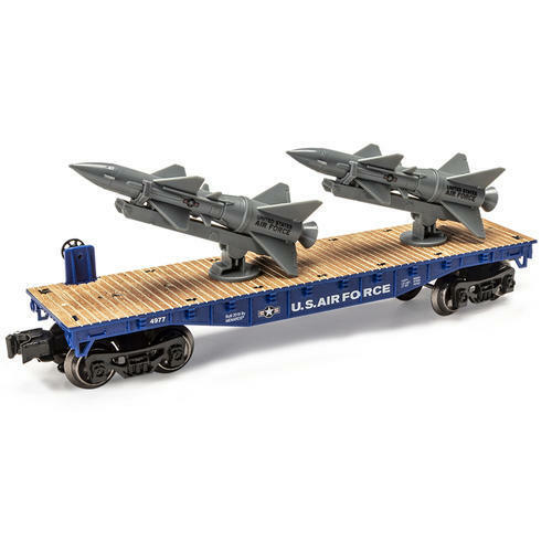 O SCALE  FLAT CAR WITH TWO ROCKETS NEW AIR FORCE NICE LOWERED RICE 15.00 OFF