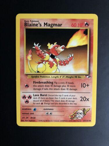 Carte Pokemon Blaine Magmar 37//132 Unco Gym Heroes WIZARD US