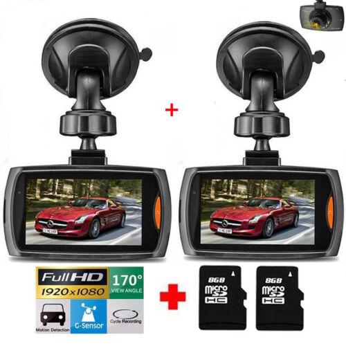 2X 1080P HD Car DVR Dash Vehicle Camera Video Recorder Cam Night Vision G-Sensor