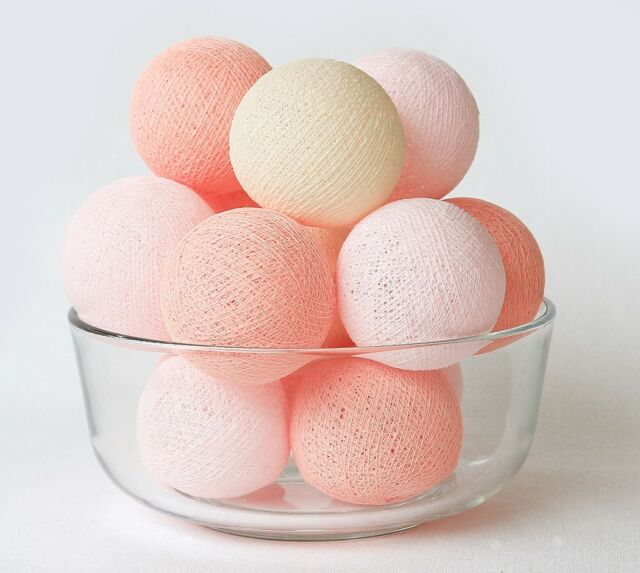 20 LOOSE COTTON BALLS NOT INCLUDE LIGHT STRING, Wedding, Sweet Pink Peach Pastel