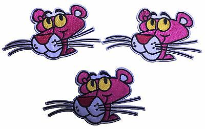 """The Pink Panther Character Head 2 1//2/"""" Tall Embroidered Patch Set of 3 Patches"""