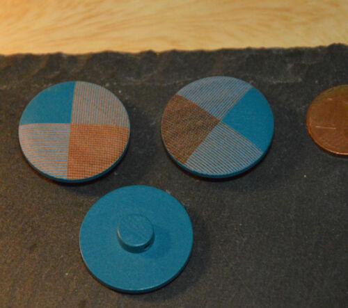 Holz Knopf Knöpfe 2,3cm 23mm 5 Stück NEU Blau