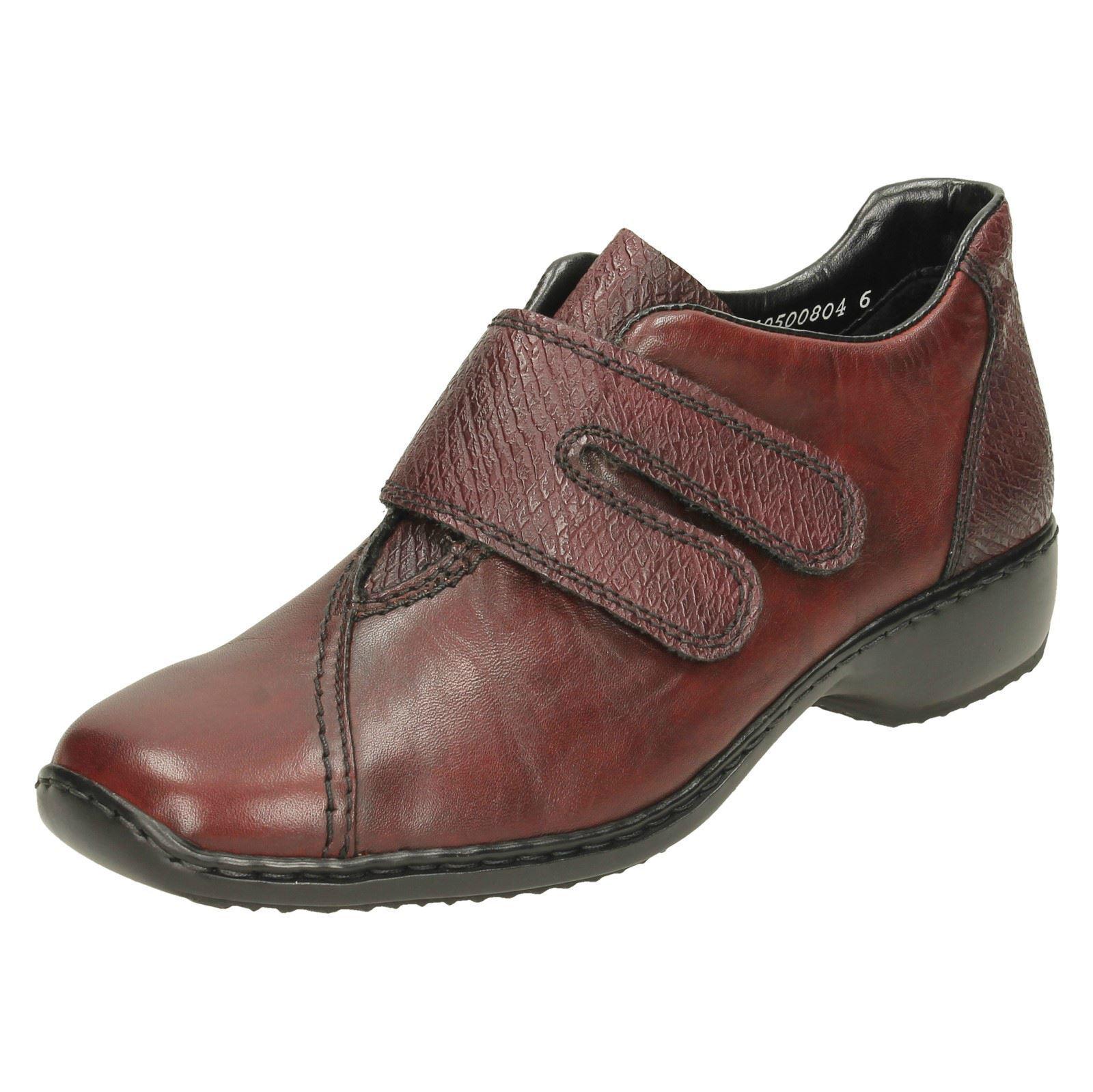 Femmes Cuir Rouge Riptape Anti Stress Rieker Chaussures Décontractées L3856