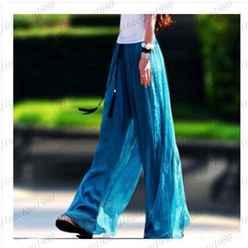 Chic New Beach Sweet Women/'s Chiffon High Waist Wide Leg Palazzo Pants Trousers