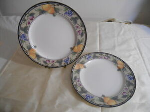 MIKASA-CAC29-INTAGLIO-GARDEN-HARVEST-DINNER-PLATES-SET-OF-2-11-5-DIAMETER-LOV