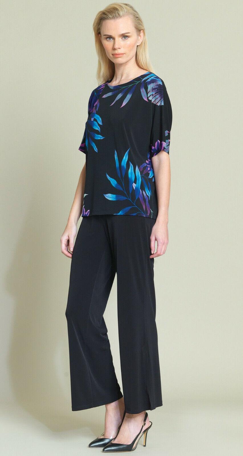 Clara Sun Woo Tropical Leaf Print V-Cross Bar Cut-Out Top Rosa Multi Sz. M