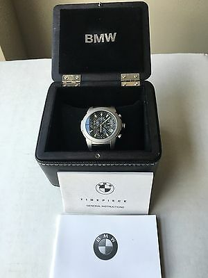 BMW Chronograph Watch Titanium Case Swiss 13 Jewel Box & Papers