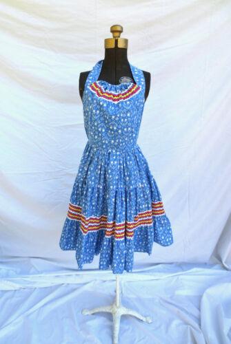 1950s Halter Dress Blue Cotton Sexy Rockabilly Pin