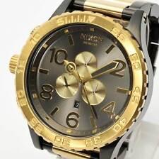 New NIXON Watch Mens 51-30 CHRONO Gunmetal & Gold A083-595 A083595