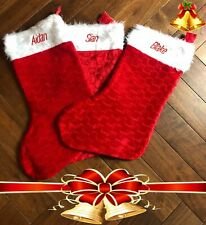 Personalised Christmas Stocking Deluxe Fluffy White Top ADD ANY NAME