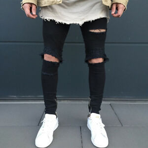 94de5a57ee5d Details about Mens Knee Ripped Skinny Jeans Destroyed Frayed Slim Fit Denim  Pants Trousers