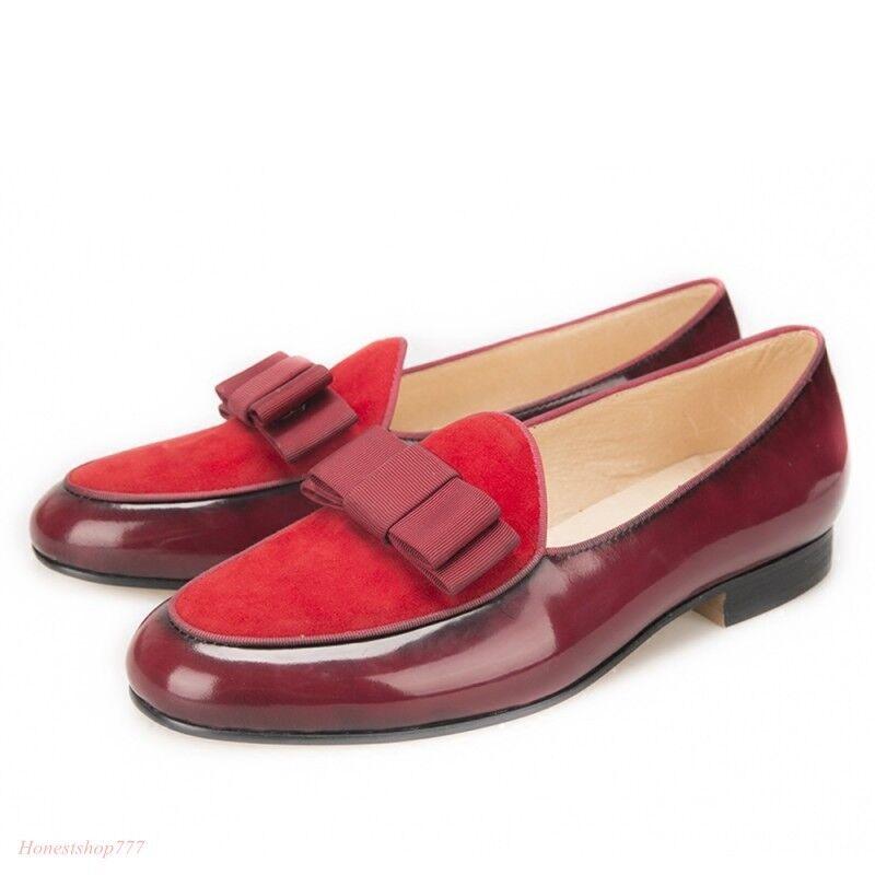Men Bowtie British Wedding Groomsman Dress shoes Oxford Slip On Loafers shoes