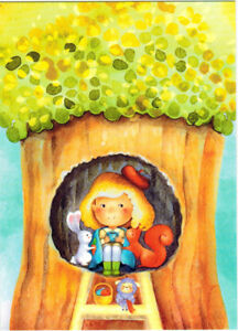 GIRL-HAS-TEA-IN-TREE-HOLLOW-SQUIRREL-AND-BUNNY-Modern-Russian-postcard