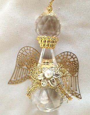 "Clear 3"" Angel with Goldtone Wings Figurine Ornament"