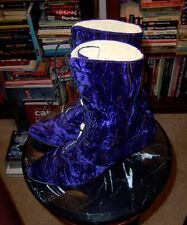 Vintage 90s Purple Crushed Velvet Victorian Style Boots - US W9 - Goth
