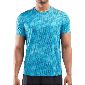 2XU Mens GHST T Shirt Tee Top Blue Sports Running Gym Breathable Reflective